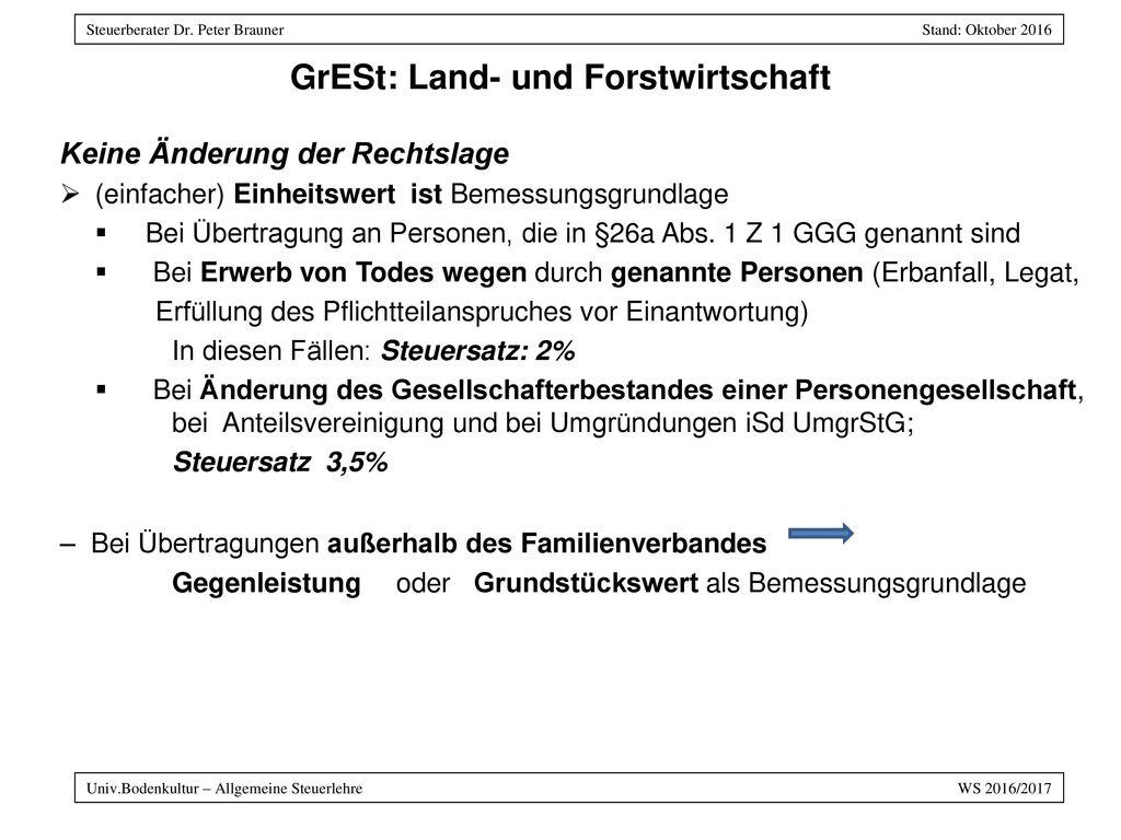 GrESt: Land- und Forstwirtschaft