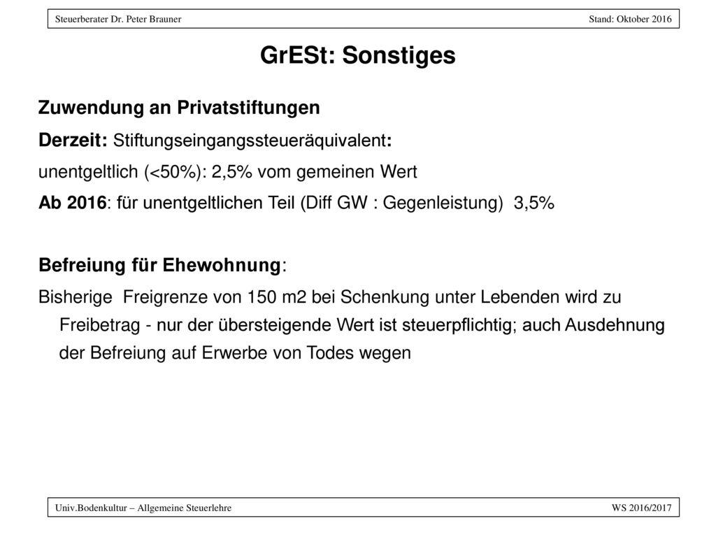 GrESt: Sonstiges Zuwendung an Privatstiftungen