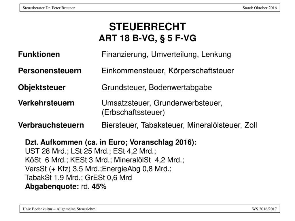 STEUERRECHT Art 18 B-VG, § 5 F-VG