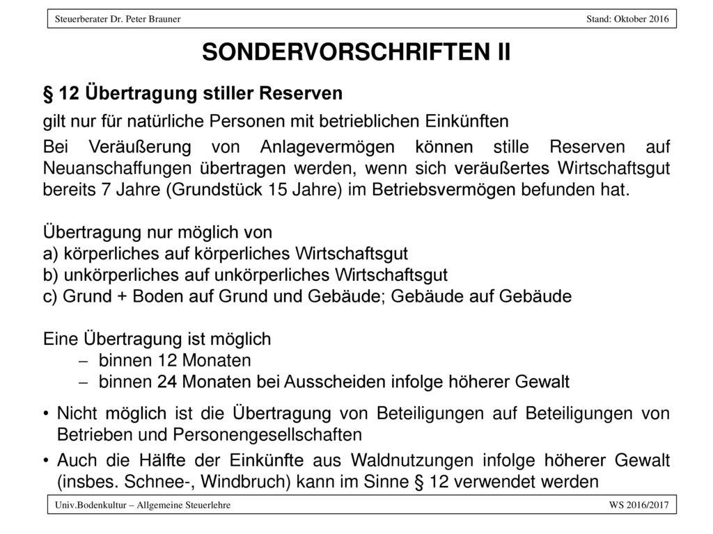 SONDERVORSCHRIFTEN II