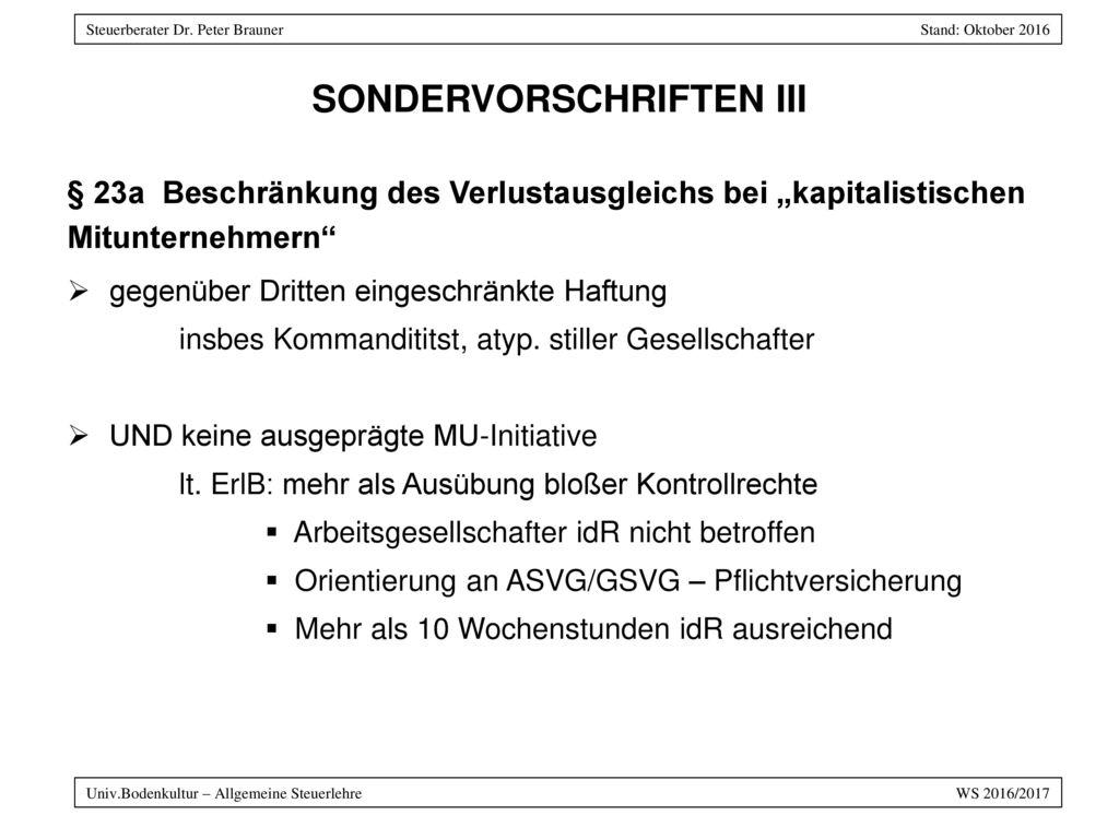SONDERVORSCHRIFTEN III