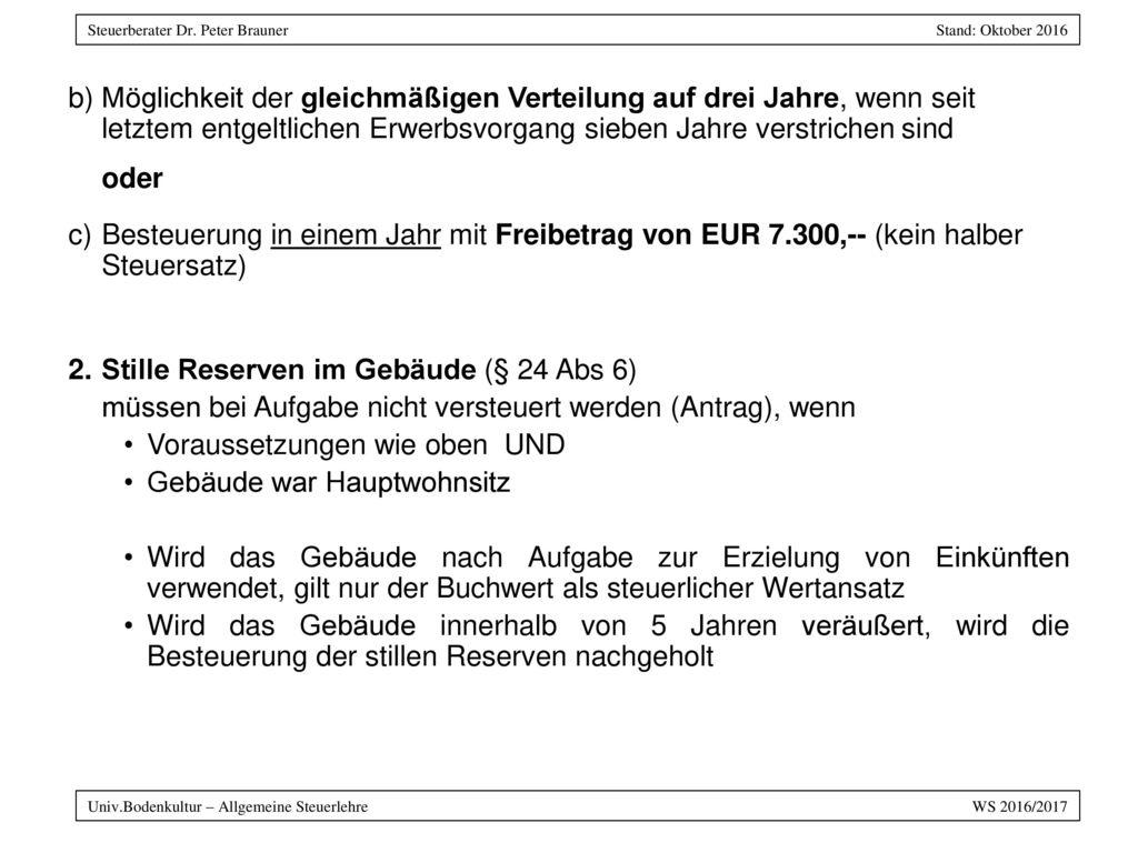 Stille Reserven im Gebäude (§ 24 Abs 6)