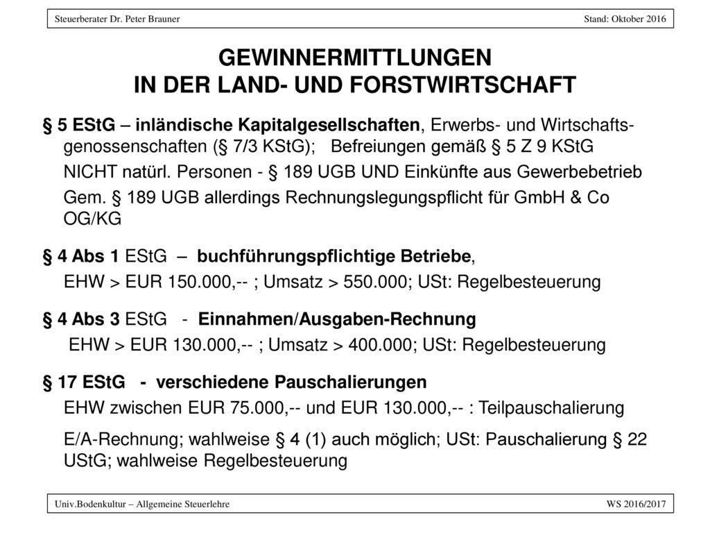 GEWINNERMITTLUNGEN IN DER LAND- UND FORSTWIRTSCHAFT