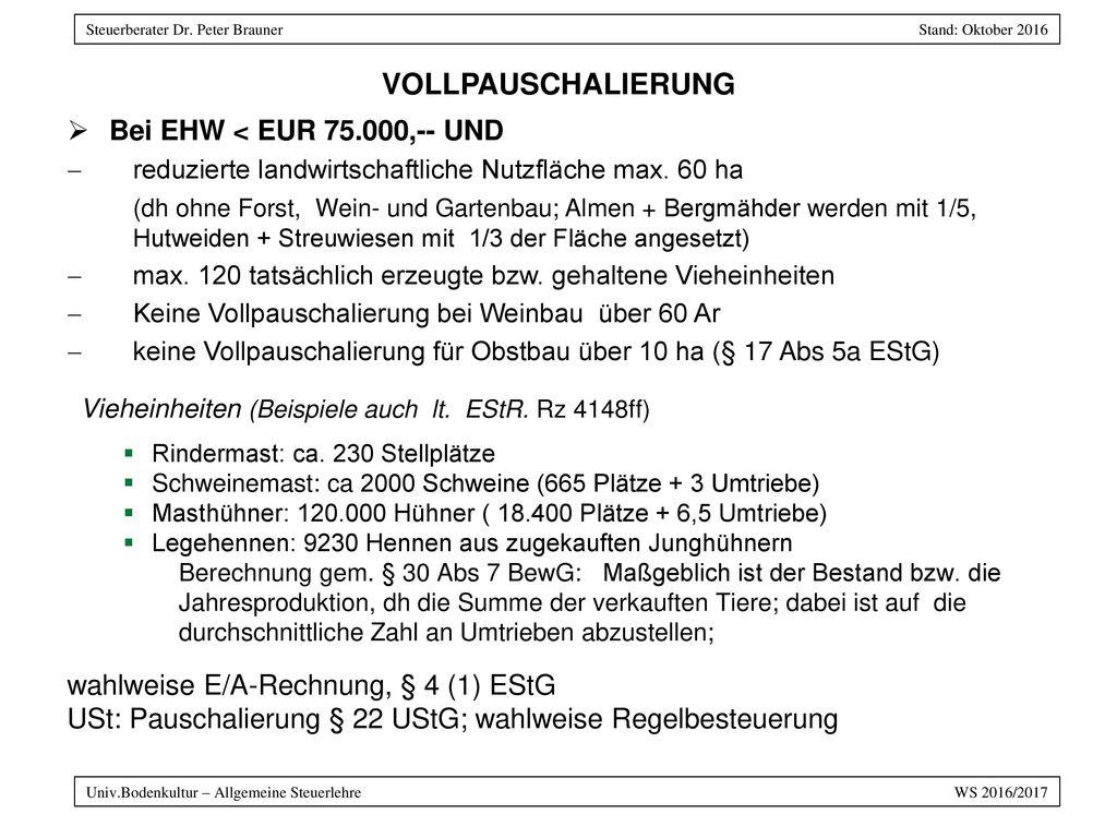 VOLLPAUSCHALIERUNG Bei EHW < EUR 75.000,-- UND