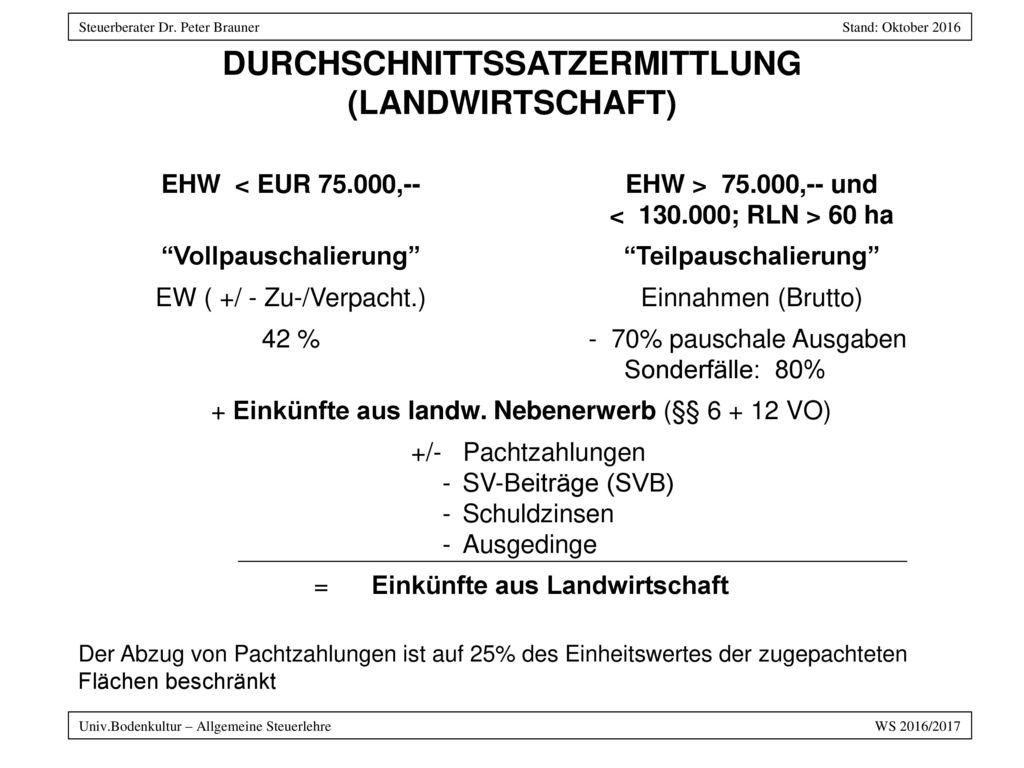 DURCHSCHNITTSSATZERMITTLUNG (LANDWIRTSCHAFT)