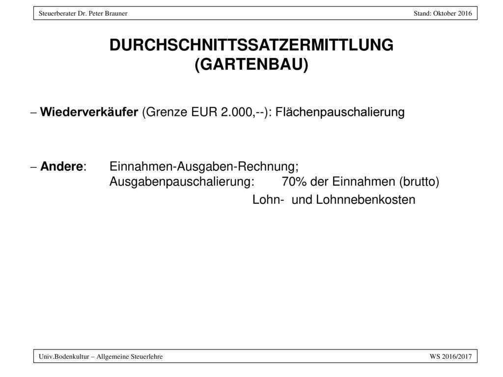 DURCHSCHNITTSSATZERMITTLUNG (GARTENBAU)