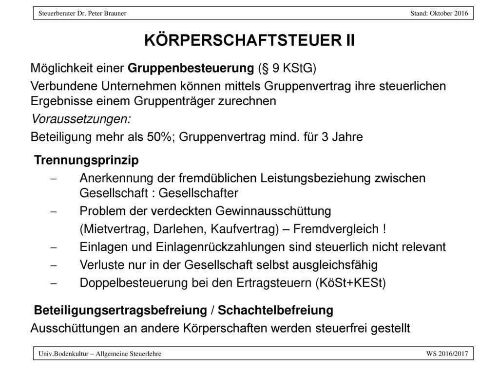 KÖRPERSCHAFTSTEUER II