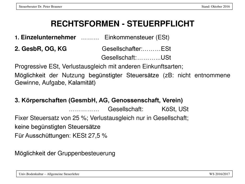 RECHTSFORMEN - STEUERPFLICHT