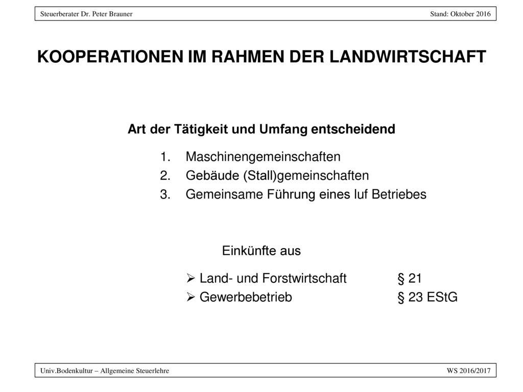 KOOPERATIONEN IM RAHMEN DER LANDWIRTSCHAFT