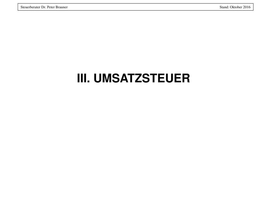 III. UMSATZSTEUER