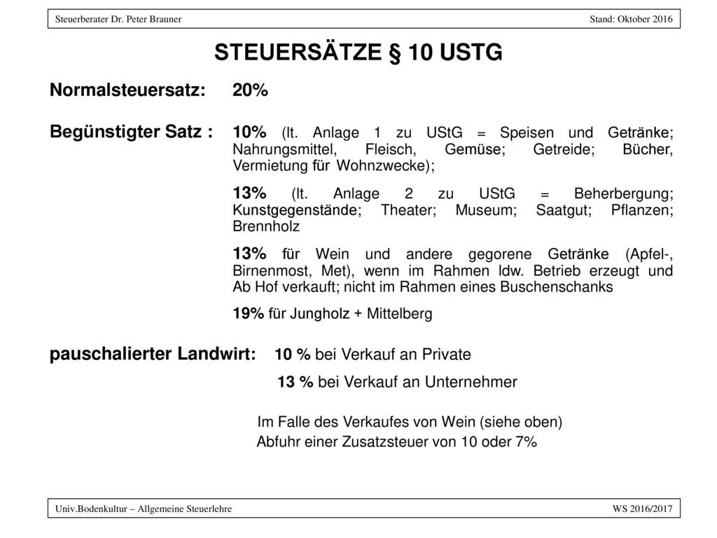 Steuersätze § 10 UStG Normalsteuersatz: 20%