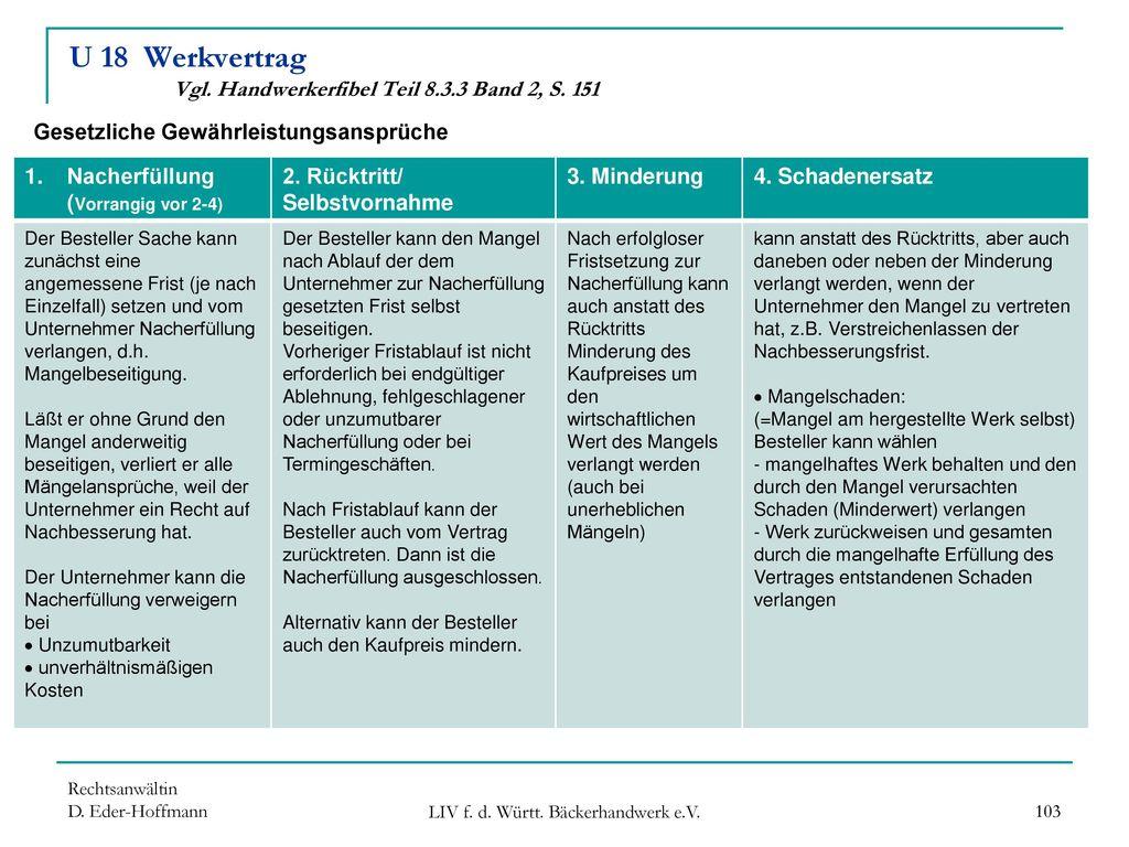 U 18 Werkvertrag Vgl. Handwerkerfibel Teil 8.3.3 Band 2, S. 151