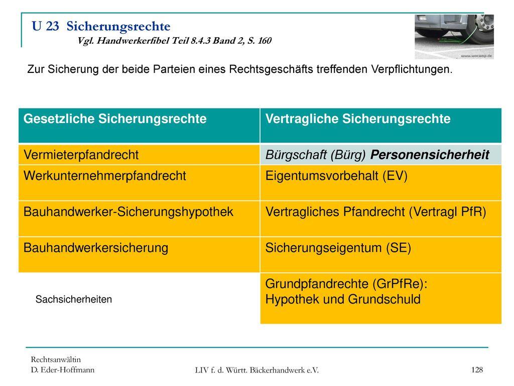 U 23 Sicherungsrechte Vgl. Handwerkerfibel Teil 8.4.3 Band 2, S. 160