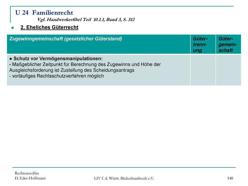 U 24 Familienrecht Vgl. Handwerkerfibel Teil 10.1.1, Band 3, S. 312