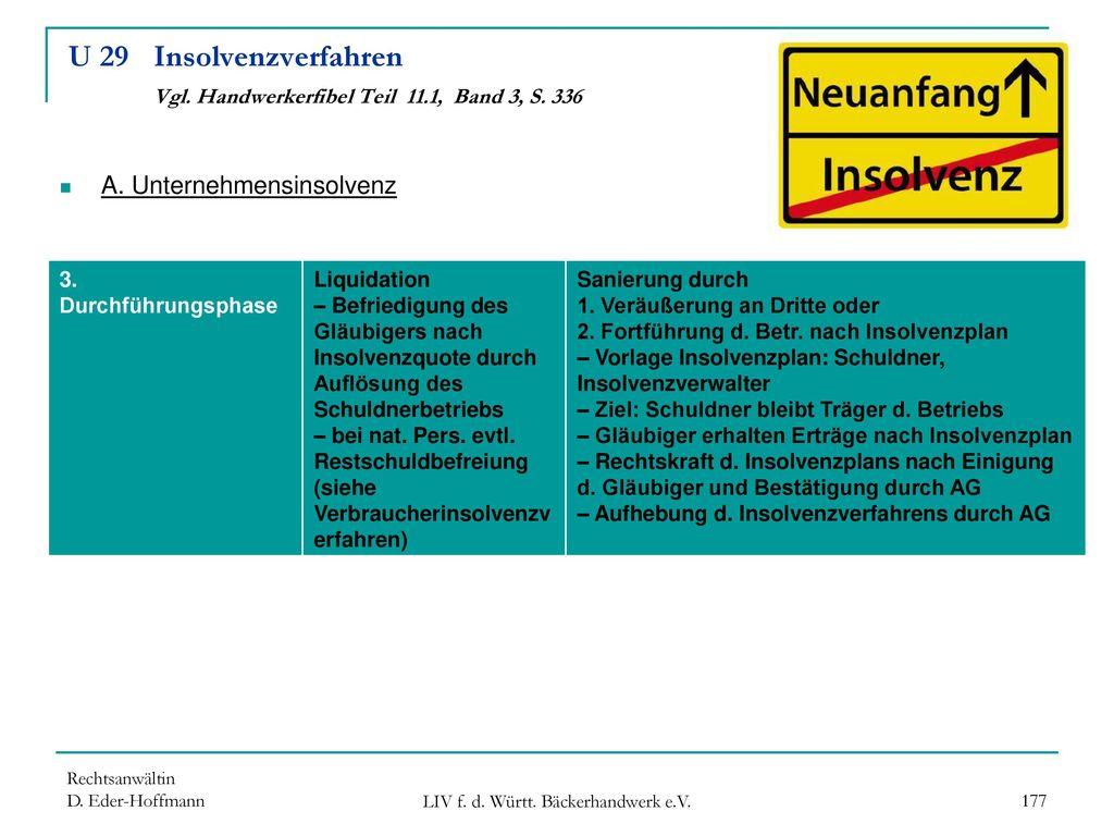 U 29 Insolvenzverfahren Vgl. Handwerkerfibel Teil 11.1, Band 3, S. 336