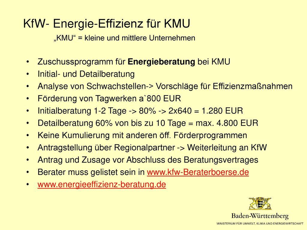 Förderprogramme für Gewerbe (KMU) Energieeffizienz-Maßnahmen und Beratung