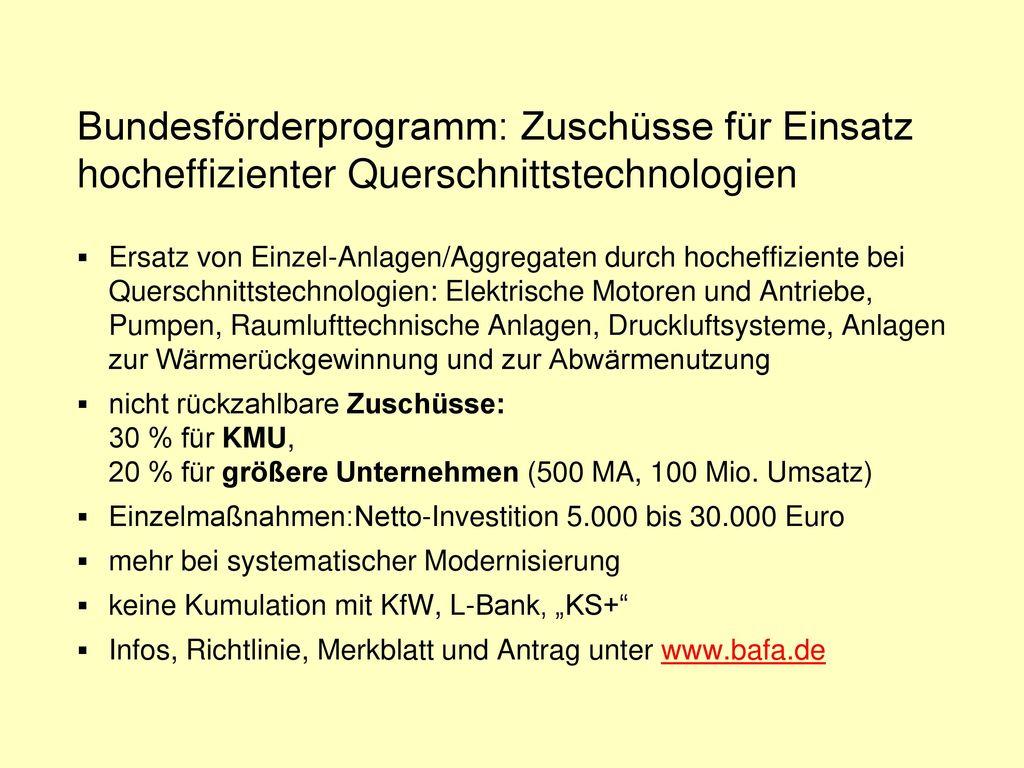 Energieeffizienzfinanzierung – Mittelstand L-Bank mit UM-Mitteln