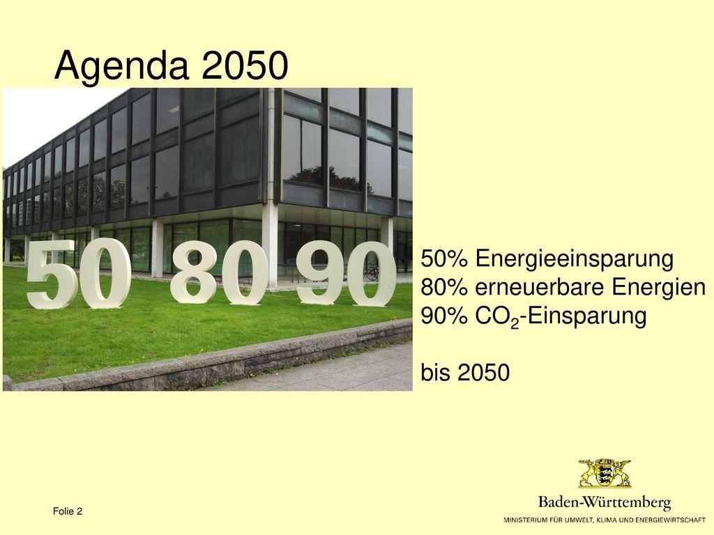 Agenda 2050 50% Energieeinsparung 80% erneuerbare Energien