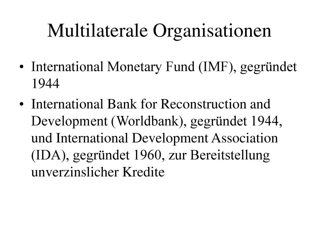 Multilaterale Organisationen
