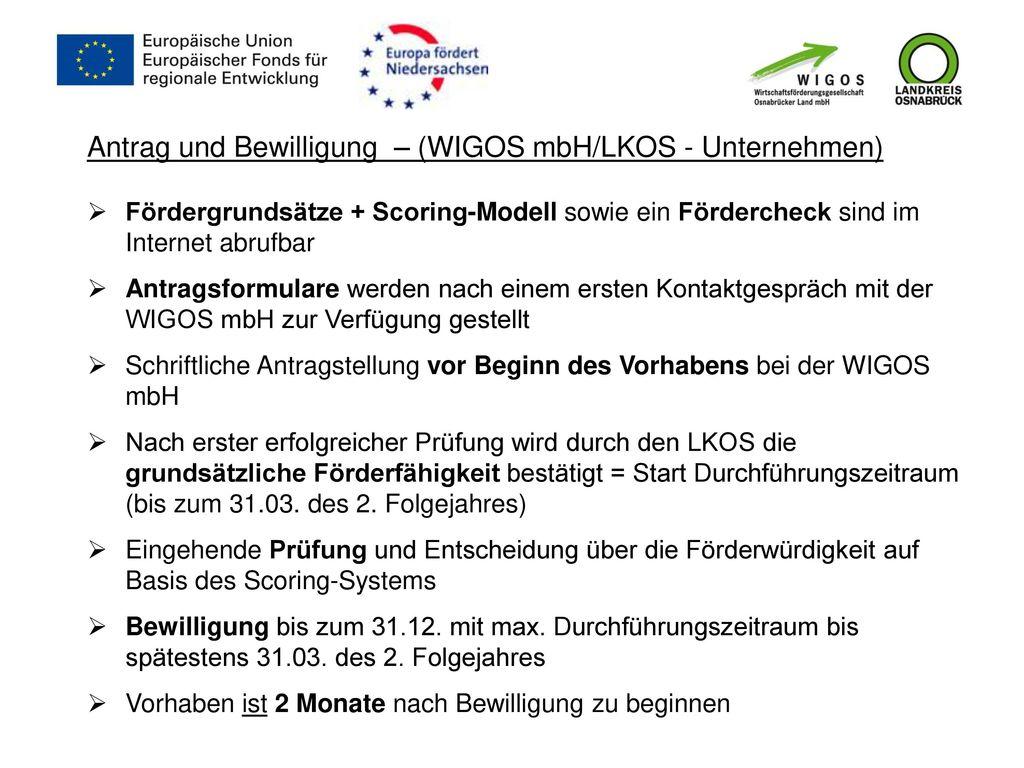Antrag und Bewilligung – (WIGOS mbH/LKOS - Unternehmen)