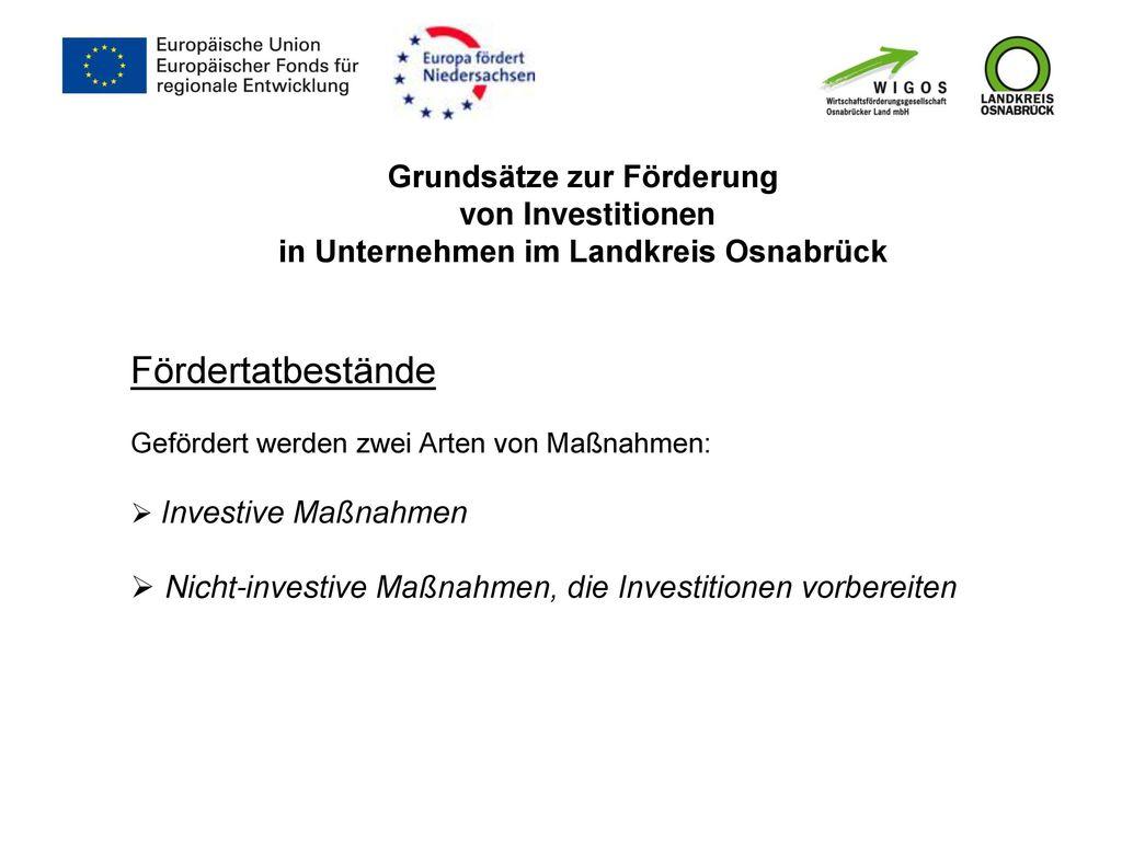 Grundsätze zur Förderung von Investitionen in Unternehmen im Landkreis Osnabrück