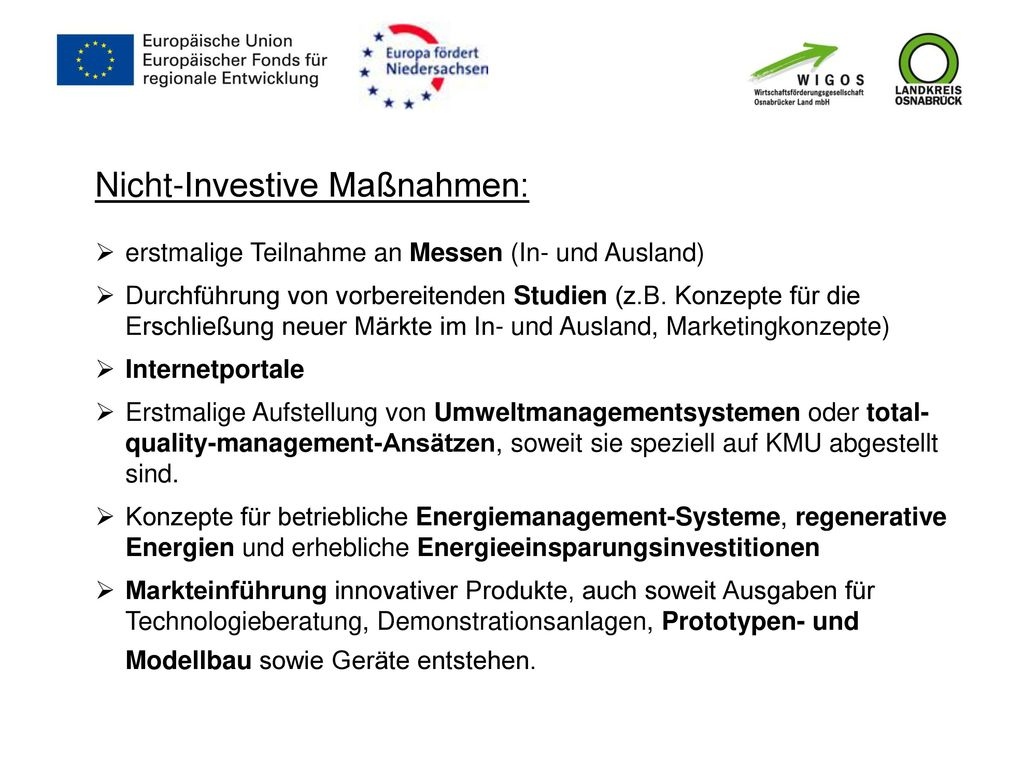 Nicht-Investive Maßnahmen: