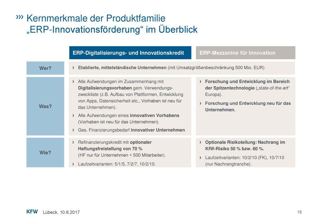 """Kernmerkmale der Produktfamilie """"ERP-Innovationsförderung im Überblick"""