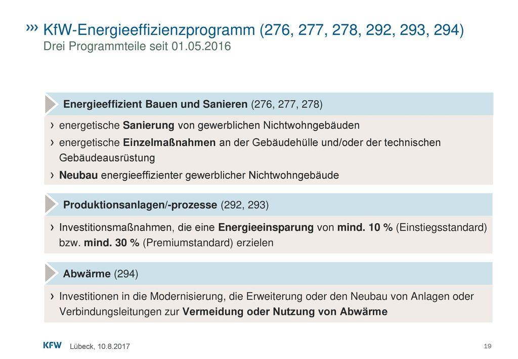 KfW-Energieeffizienzprogramm (276, 277, 278, 292, 293, 294) Drei Programmteile seit 01.05.2016