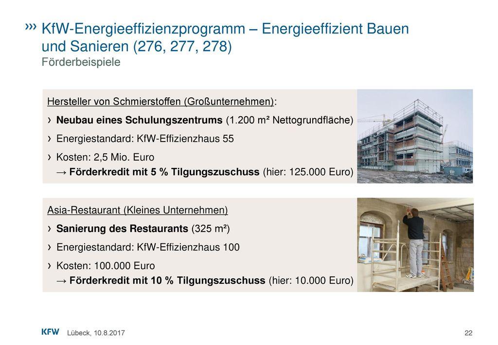 KfW-Energieeffizienzprogramm – Energieeffizient Bauen und Sanieren (276, 277, 278) Förderbeispiele