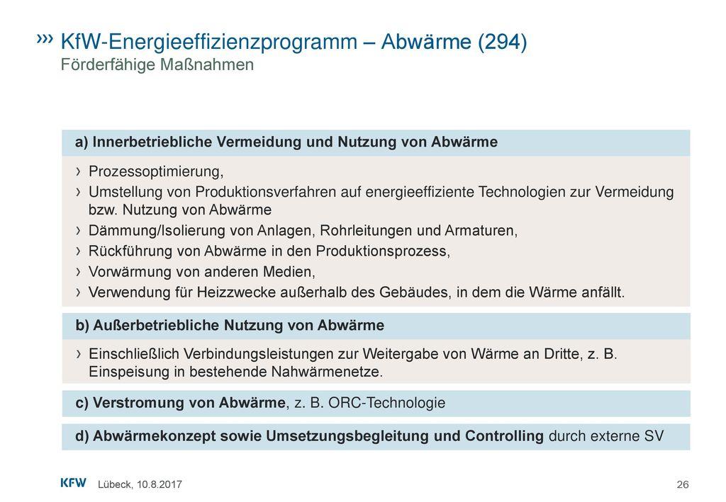 KfW-Energieeffizienzprogramm – Abwärme (294) Förderfähige Maßnahmen