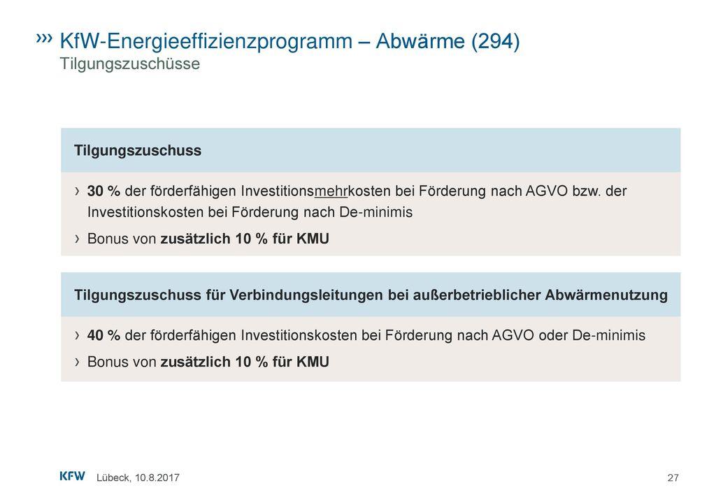 KfW-Energieeffizienzprogramm – Abwärme (294) Tilgungszuschüsse
