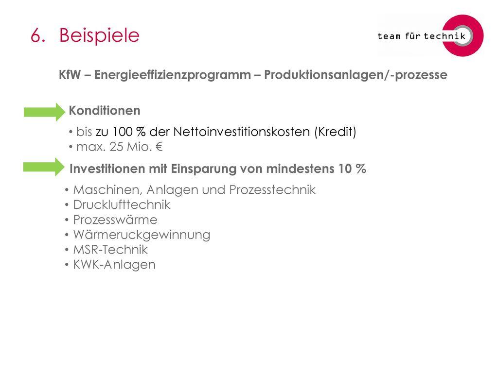 6. Beispiele KfW – Energieeffizienzprogramm – Produktionsanlagen/-prozesse. Konditionen. bis zu 100 % der Nettoinvestitionskosten (Kredit)