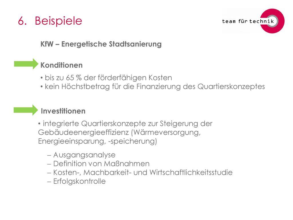 6. Beispiele KfW – Energetische Stadtsanierung Konditionen