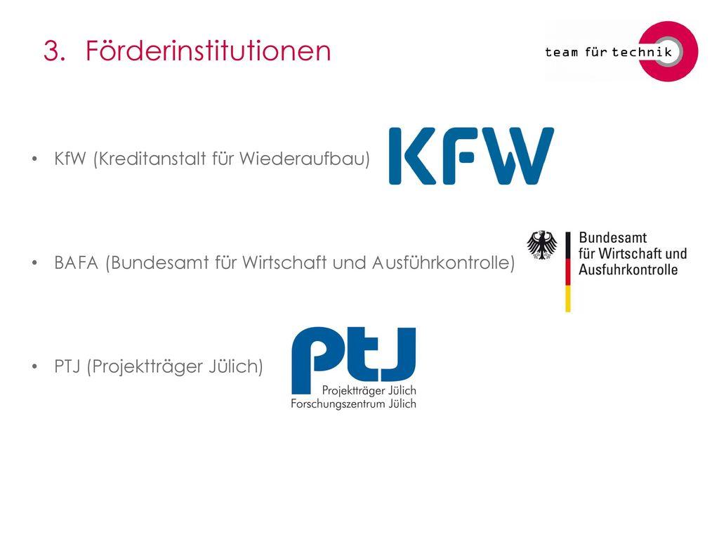 3. Förderinstitutionen KfW (Kreditanstalt für Wiederaufbau)