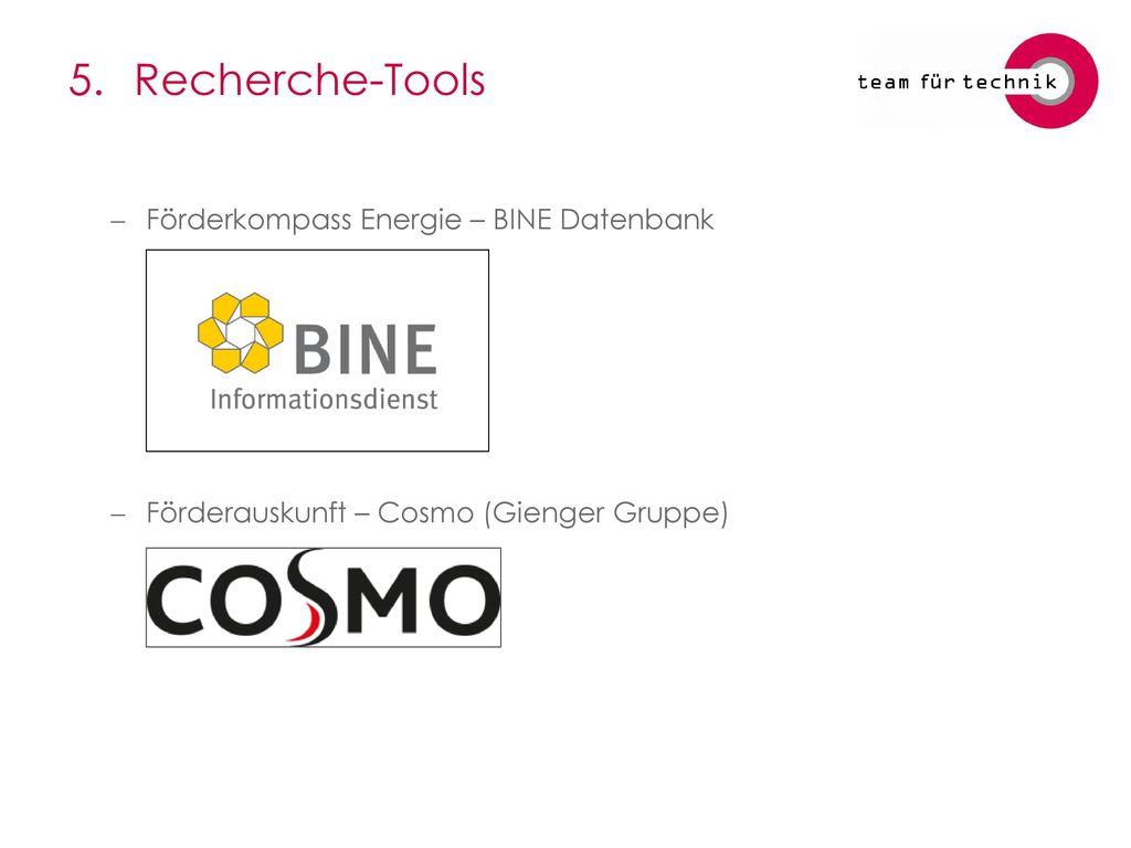 5. Recherche-Tools Förderkompass Energie – BINE Datenbank