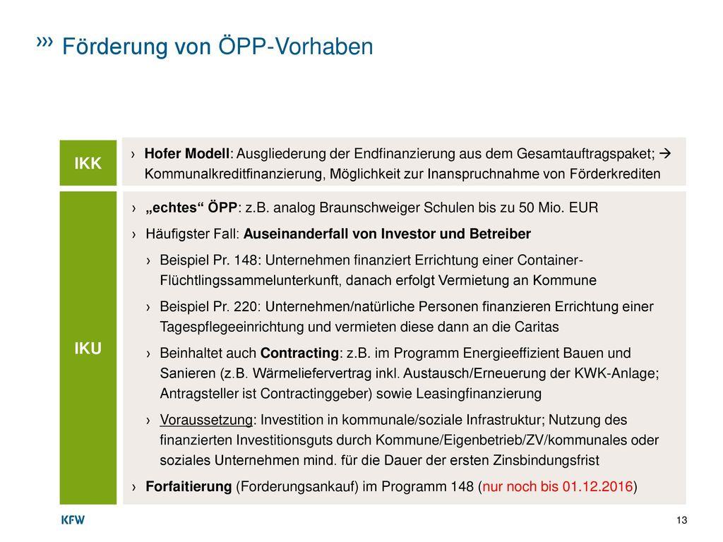 Förderung von ÖPP-Vorhaben