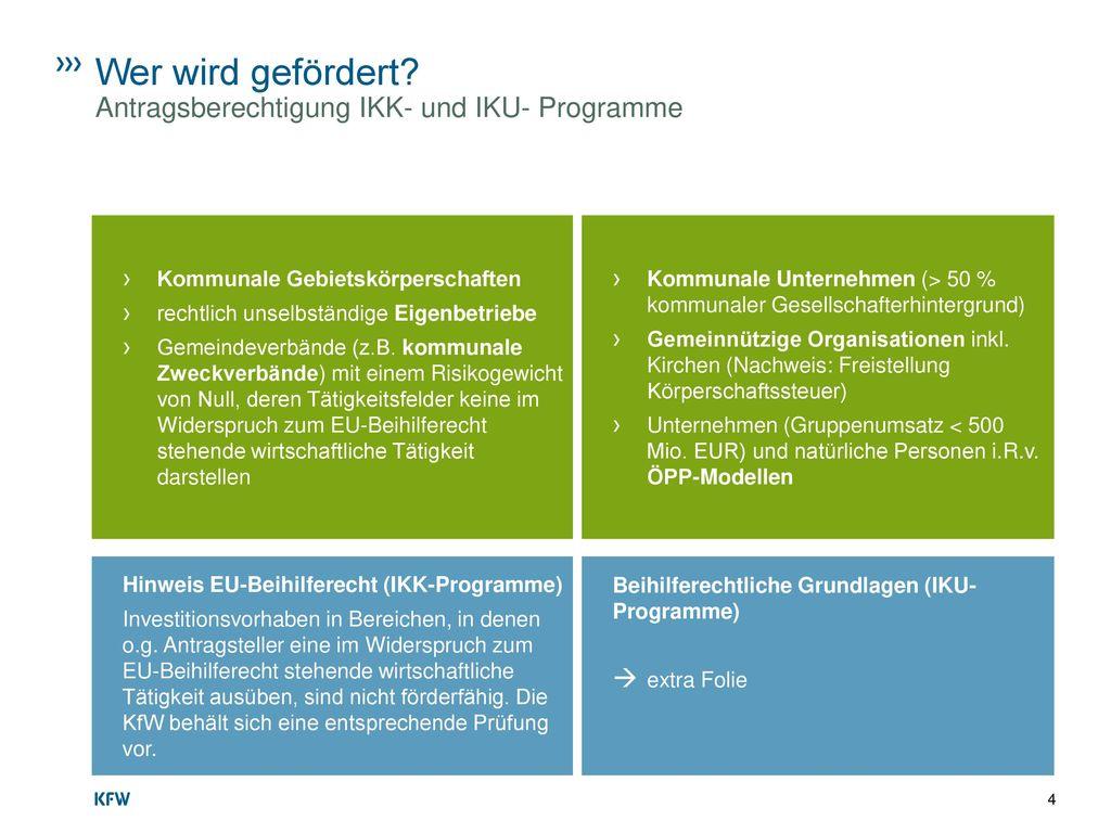 Wer wird gefördert Antragsberechtigung IKK- und IKU- Programme