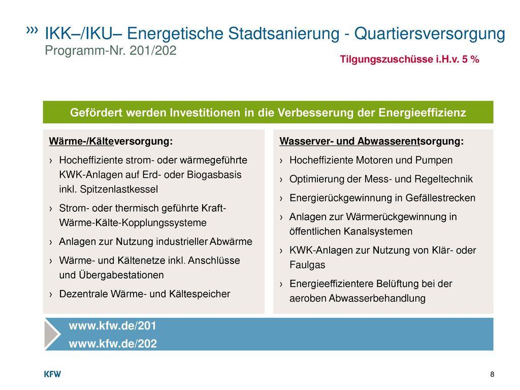 IKK–/IKU– Energetische Stadtsanierung - Quartiersversorgung