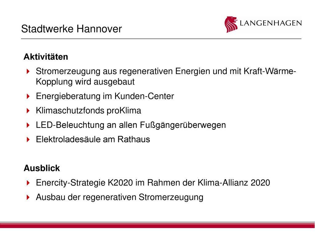 Stadtwerke Hannover Aktivitäten