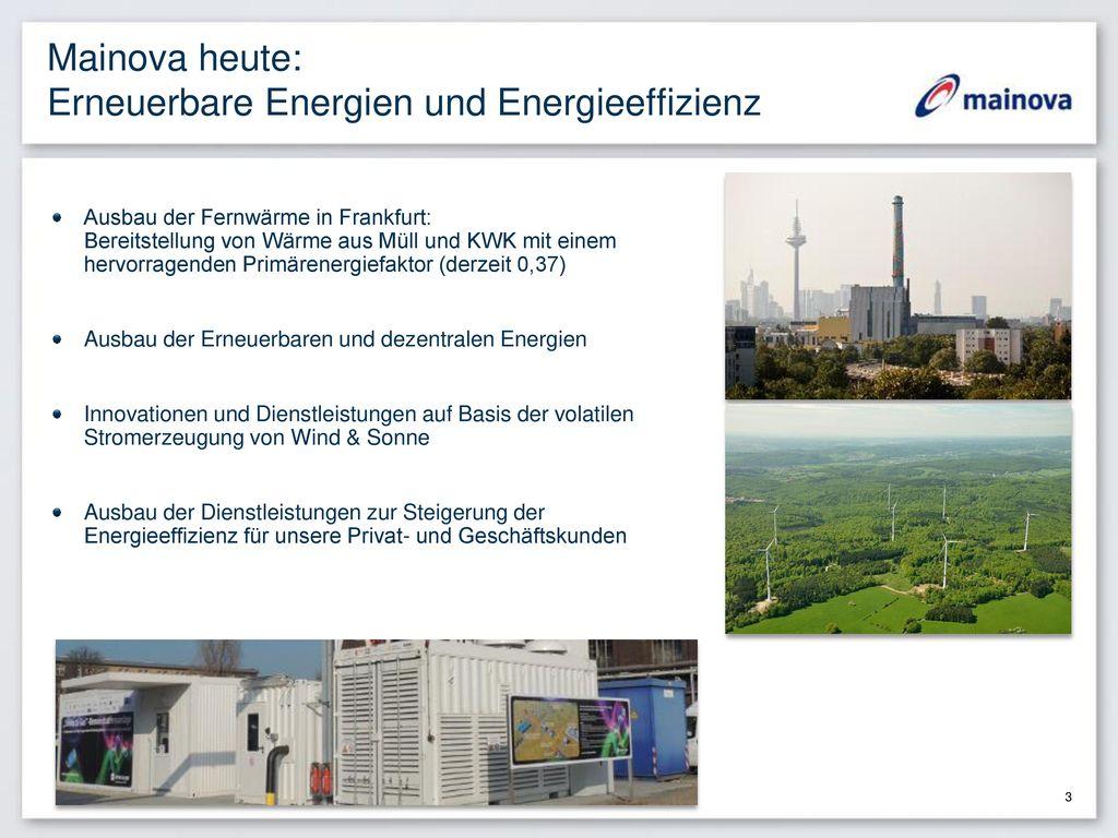 Mainova heute: Erneuerbare Energien und Energieeffizienz