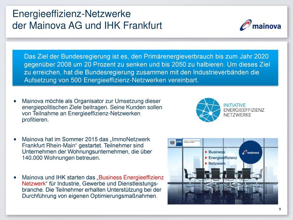 Energieeffizienz-Netzwerke der Mainova AG und IHK Frankfurt