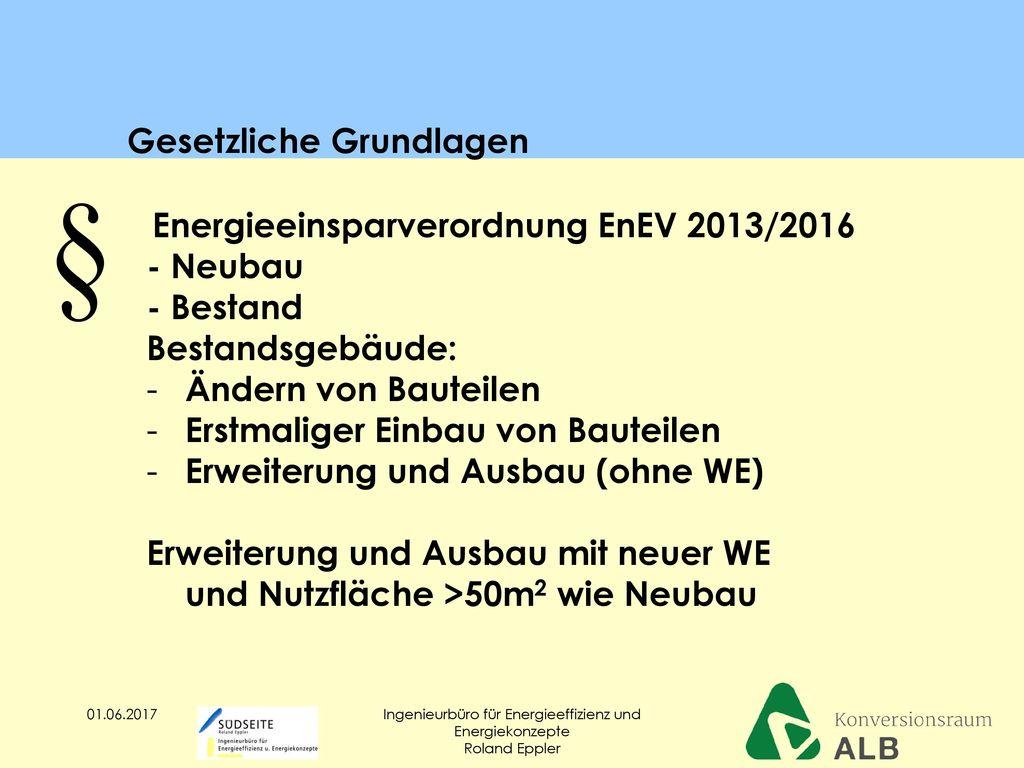 Energieeinsparverordnung EnEV 2013/2016