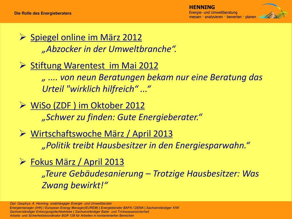 """""""Abzocker in der Umweltbranche . Stiftung Warentest im Mai 2012"""