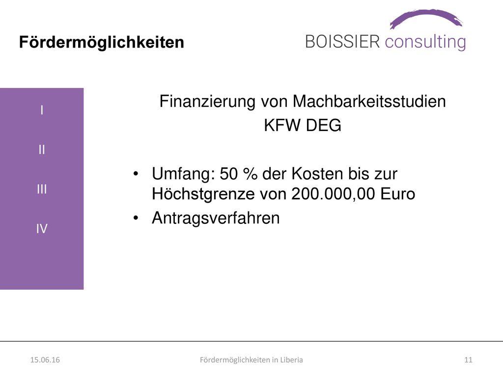 Finanzierung von Machbarkeitsstudien KFW DEG