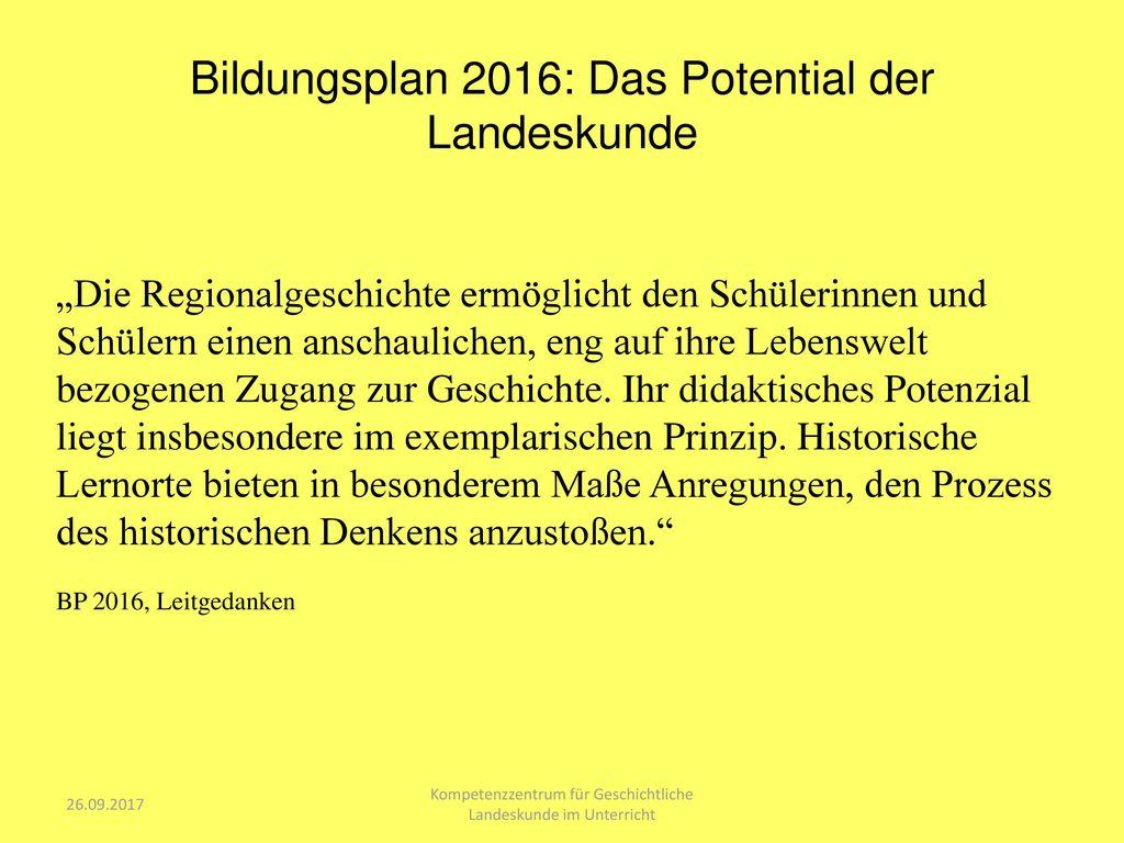 Bildungsplan 2016: Das Potential der Landeskunde