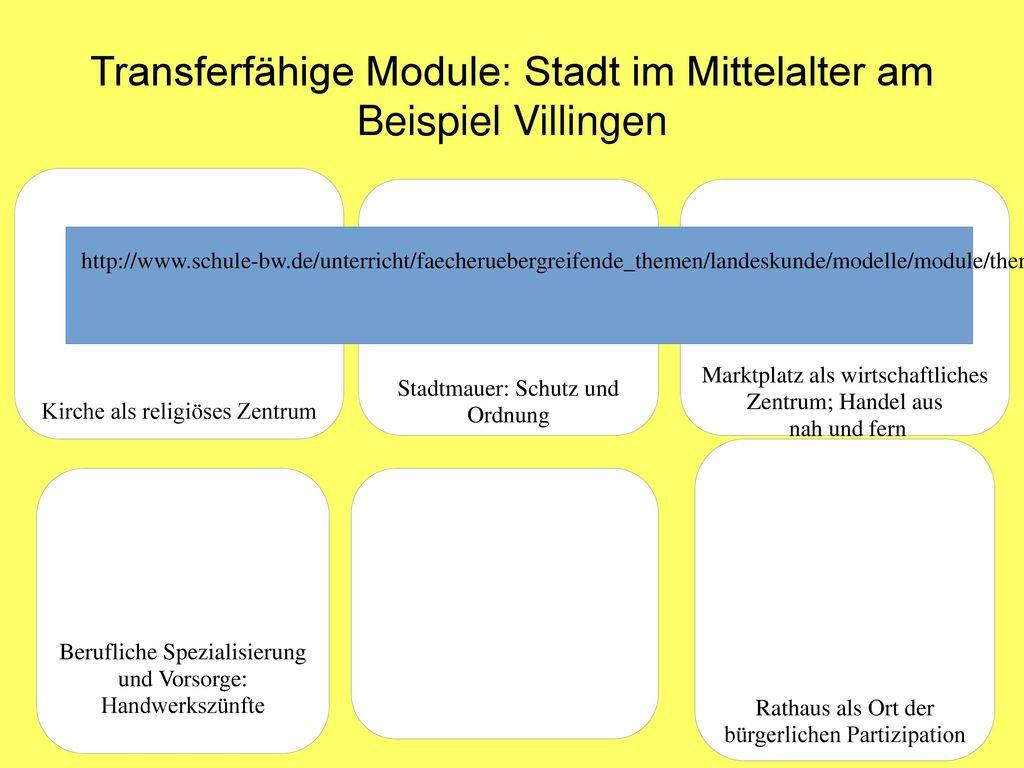 Transferfähige Module: Stadt im Mittelalter am Beispiel Villingen