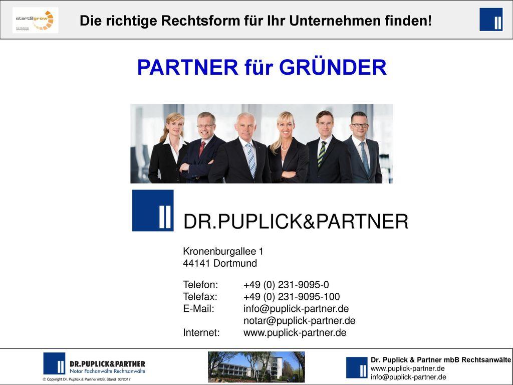 PARTNER für GRÜNDER DR.PUPLICK&PARTNER Kronenburgallee 1