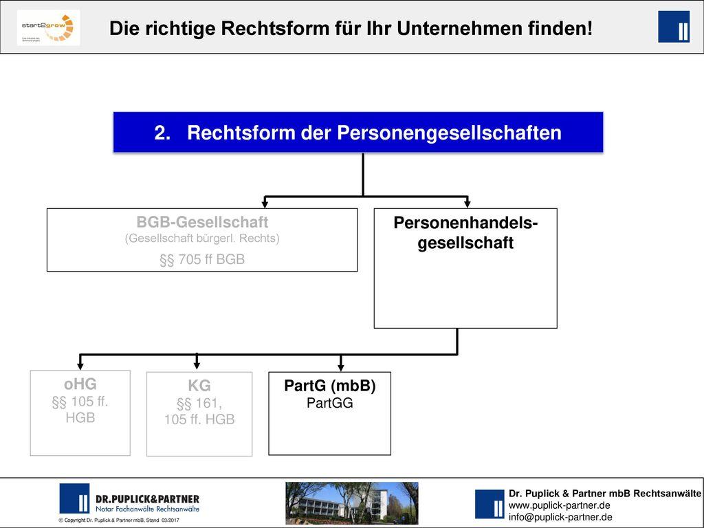 2. Rechtsform der Personengesellschaften