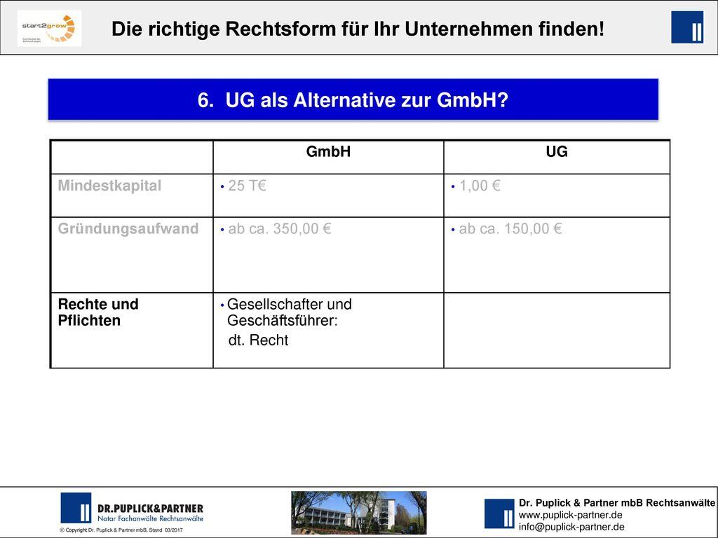 6. UG als Alternative zur GmbH