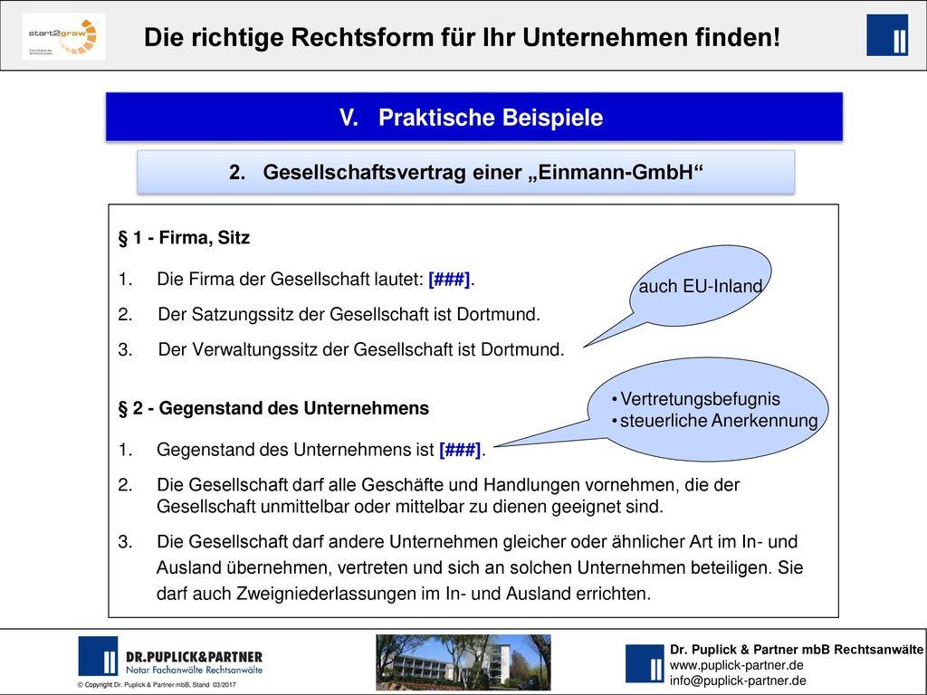 """V. Praktische Beispiele 2. Gesellschaftsvertrag einer """"Einmann-GmbH"""